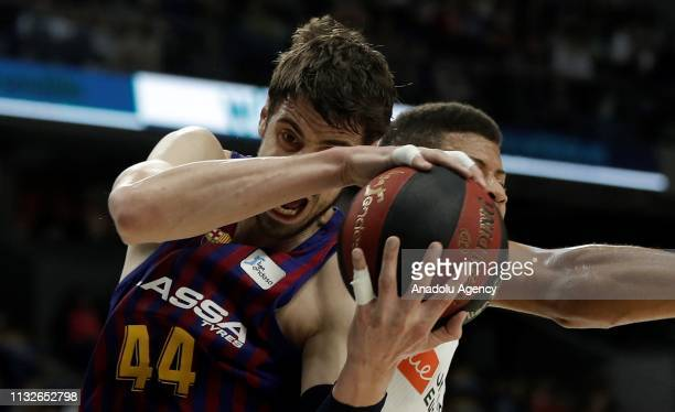 Edy Tavares of Real Madrid in action against Ante Tomic of Barcelona Lassa during the Liga Endesa week 24 match between Real Madrid and FC Barcelona...