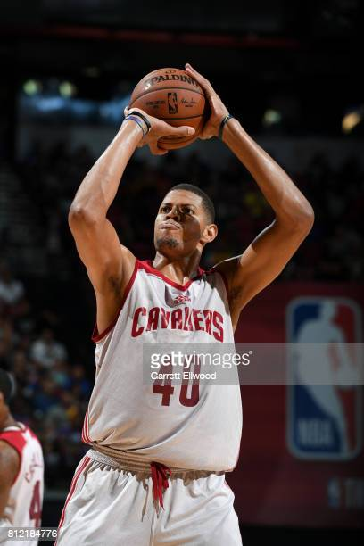 Edy Tavares of the Cleveland Cavaliers shoots the ball against the Golden State Warriors on July 10 2017 at the Thomas Mack Center in Las Vegas...