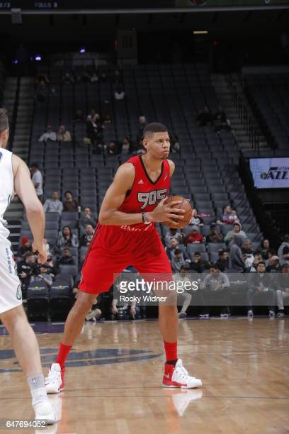 Edy Tavares of the Raptors 905 handles the ball against the Reno Bighorns during the game on March 3 2017 at Golden 1 Center in Sacramento California...