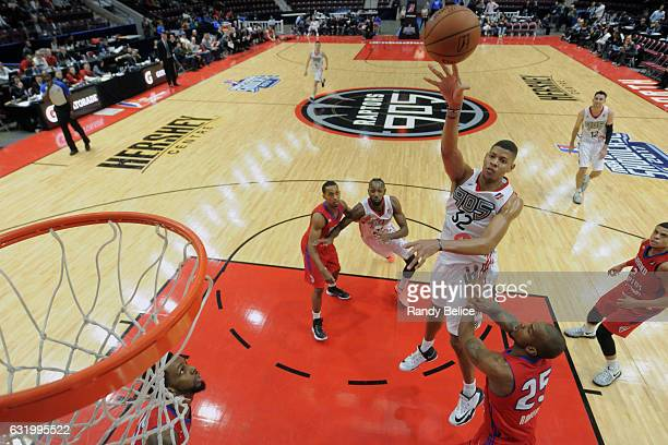 Edy Tavares of the Raptors 905 shoots the ball against the Grand Rapids Drive as part of 2017 NBA DLeague Showcase at the Hershey Centre on January...