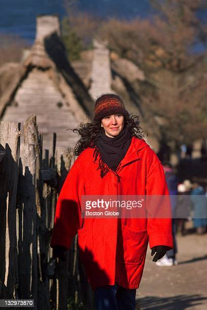 Edya Kalev walks through the village at Plimoth Plantation where she is an interpreter who dresses and plays the part of a pilgrim She is also the...