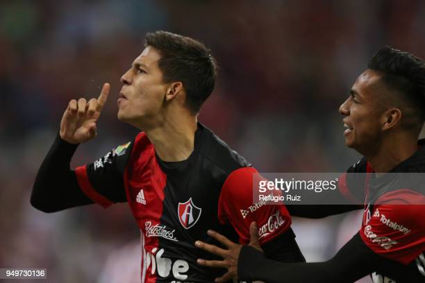 Edyairth Ortega of Atlas celebrates after scoring the first goal of his team during the 16th round match between Atlas and Chivas as part of the...