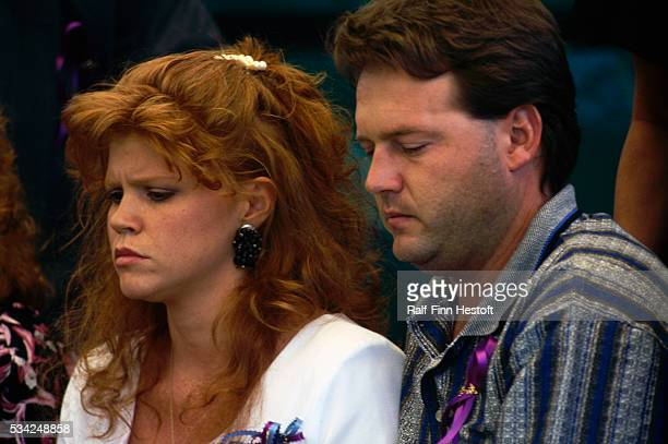 Edye and Tony Smith mourn at the funeral of their sons Chase and Colton Smith who were killed in the Oklahoma City bombing On April 19th a...