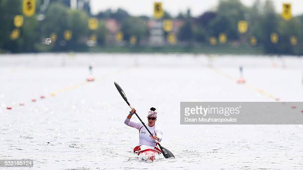 Edyta DzieniszewskaKierkla of Poland celebrates winning the K1 W 1000 Final during Day 2 of the ICF Canoe Sprint World Cup 1 held at Sportpark...