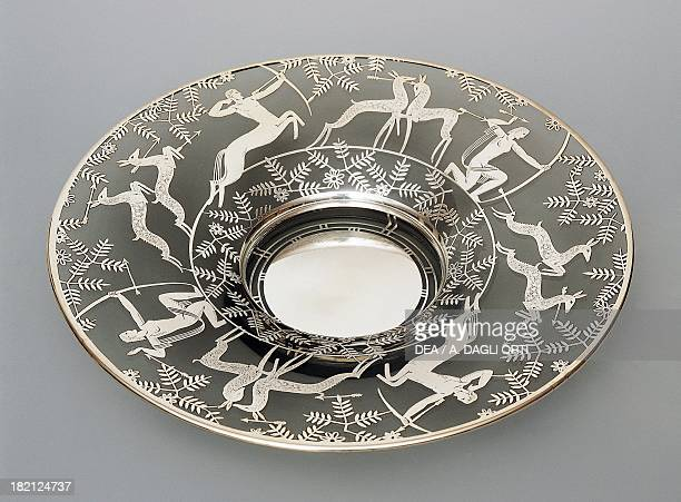 Eectroplated glass plate with hunting scenes, 1930-1939, Italy, 20th century.
