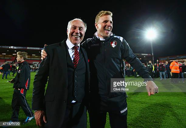 EEddie Howe manager of Bournemouth and Bournemouth chairman Jeff Mostyn celebrate victory on the pitch after the Sky Bet Championship match between...