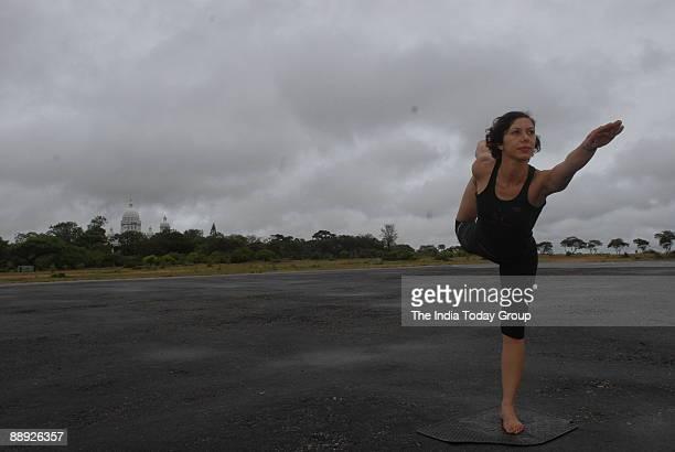 Eefa Shroff Yoga expert doing Yoga at Lalitha Palace Hotel in Mysore Karnataka India