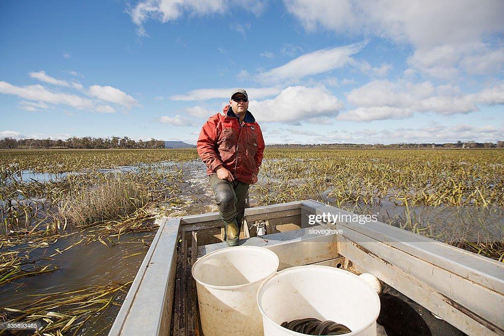 Eel Fisherman : Stock Photo