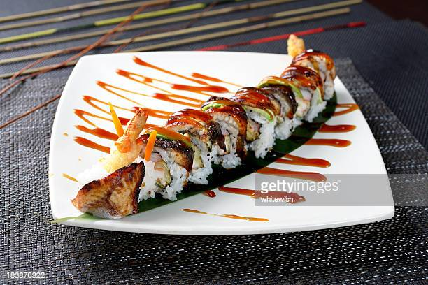 eel roll - saltwater eel stock photos and pictures