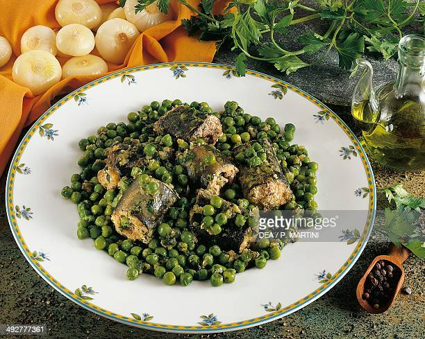 Eel with peas