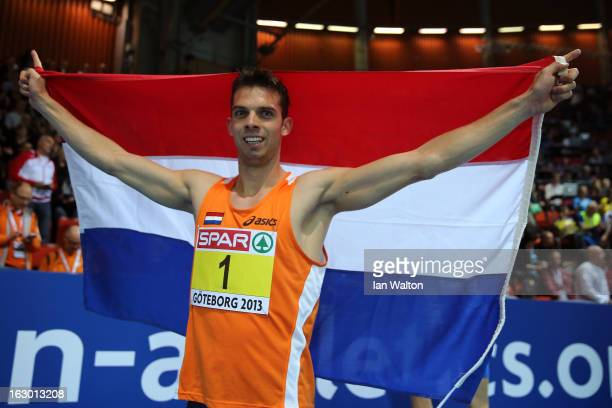 Eelco Sintnicolaas of Netherlands wins gold in the Men's Hepathlon during day three of European Indoor Athletics at Scandinavium on March 3 2013 in...
