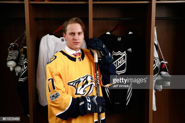 Eeli Tolvanen 30th overall pick of the Nashville Predators poses for a portrait during Round One of the 2017 NHL Draft at United Center on June 23...