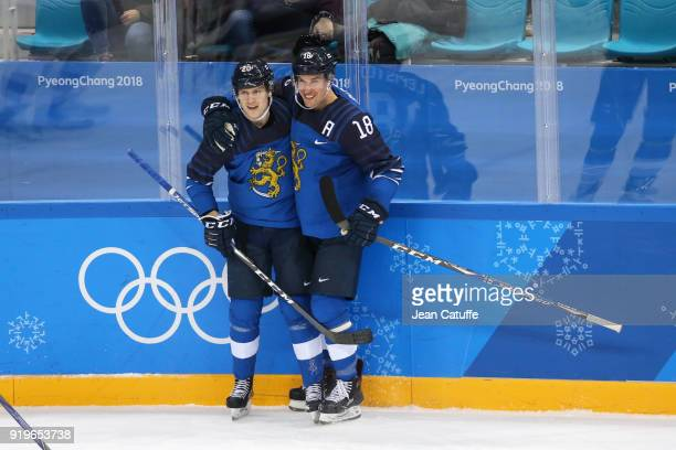 Eeli Tolvanen and Sami Lepisto of Finland celebrate during the Men's Ice Hockey Preliminary game between Finland and Norway at Gangneung Hockey...