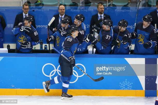 Eeli Tolvanen of Finland celebrates with teammates during the Men's Ice Hockey Preliminary game between Finland and Norway at Gangneung Hockey Centre...