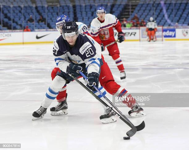 Eeli Tolvanen of Finland shields the puck from Vojtech Budik of Czech Republic during the second period of play in the IIHF World Junior...