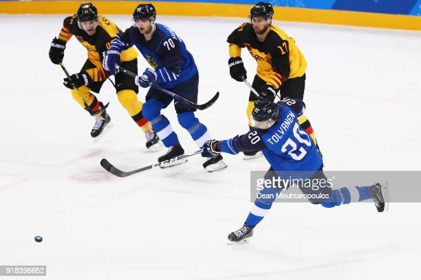 Eeli Tolvanen of Finland shoots and scores a goal during the Men's Ice Hockey Preliminary Round Group C game on day six of the PyeongChang 2018...