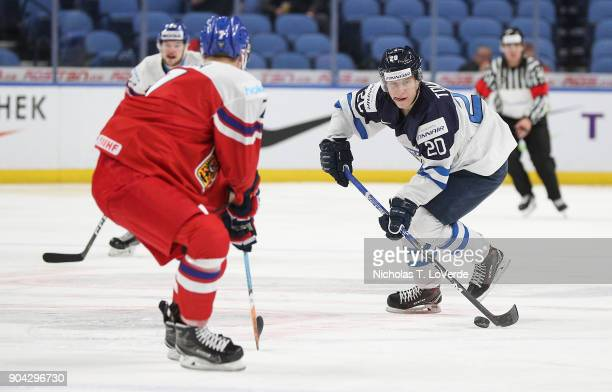 Eeli Tolvanen of Finland skates against the Czech Republic during the second period of play in the IIHF World Junior Championships Quarterfinal game...