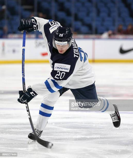 Eeli Tolvanen of Finland takes a shot in the second period against Denmark during the IIHF World Junior Championship at KeyBank Center on December 28...