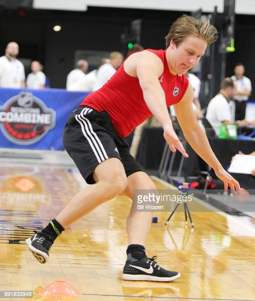 Eeli Tolvanen takes the Pro Agility test during the NHL Combine at HarborCenter on June 3 2017 in Buffalo New York