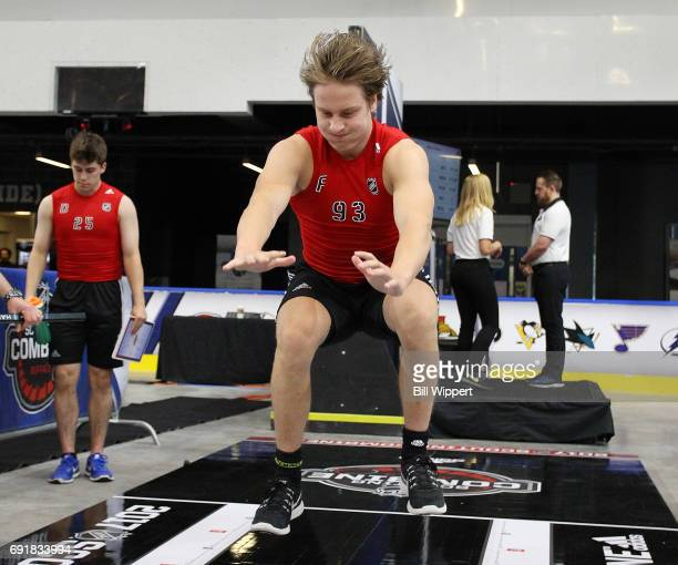 Eeli Tolvanien does the Long Jump during the NHL Combine at HarborCenter on June 3 2017 in Buffalo New York