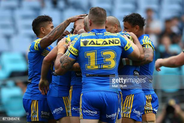 Eels celebrate the try scored by Corey Norman during the round eight NRL match between the Parramatta Eels and the Penrith Panthers at ANZ Stadium on...