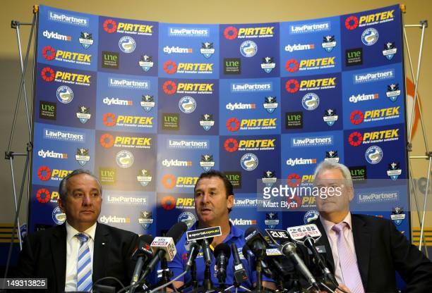 Eels Chairman Roy Spagnolo Ricky Stuart and Eels CEO Bob Bentley speak at a press conference to announce Stuart's new role as coach of the Parramatta...