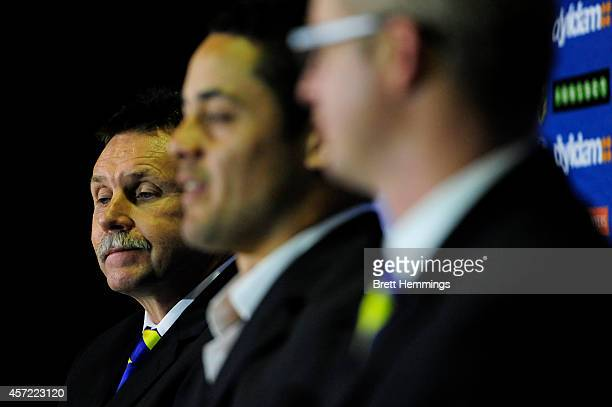 Eels Chairman Steve Sharp looks on at a press conference to announce Jarryd Haynes departure from the NRL to pursue NFL in America on October 15 2014...