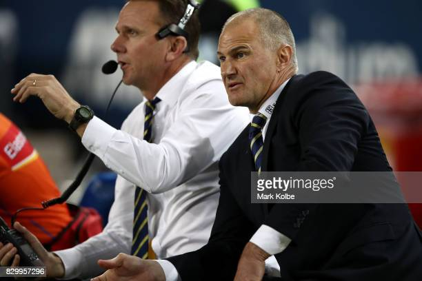 Eels coach Brad Arthur during the round 23 NRL match between the Parramatta Eels and the Newcastle Knights at ANZ Stadium on August 11 2017 in Sydney...