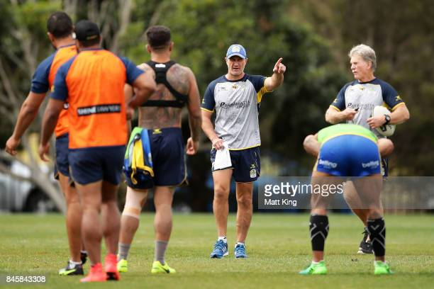 Eels coach Brad Arthur gives instructions to players during a Parramatta Eels NRL training session at Old Saleyards Reserve on September 12 2017 in...
