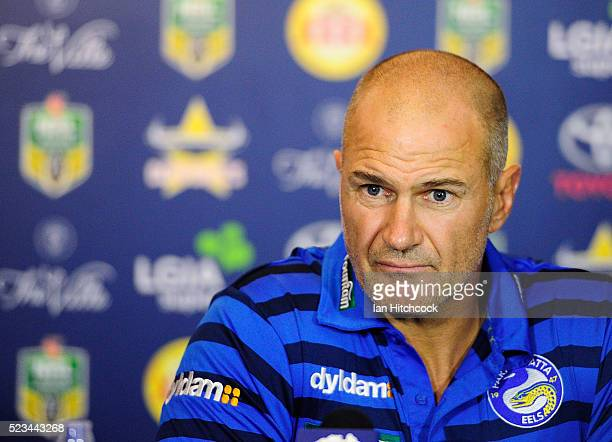 Eels coach Brad Arthur looks on at the post match media conference at the end of during the round eight NRL match between the North Queensland...
