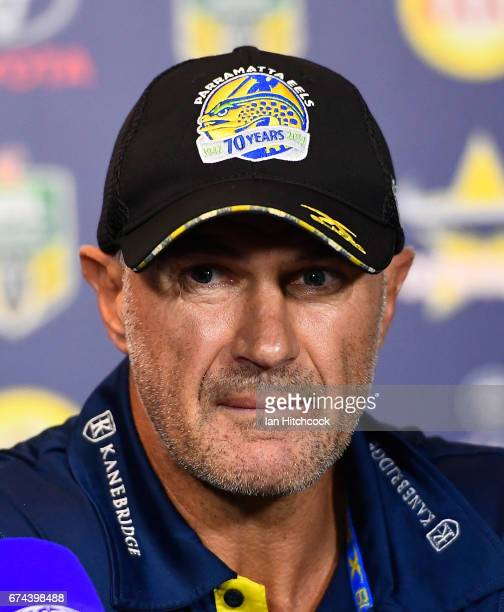 Eels coach Brad Arthur looks on at the post match media conference at the end of during the round nine NRL match between the North Queensland Cowboys...