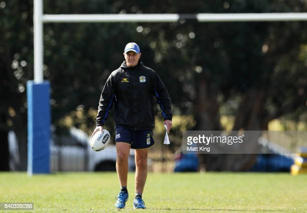 Eels coach Brad Arthur looks on during a Parramatta Eels NRL training session at Old Saleyards Reserve on August 29 2017 in Sydney Australia