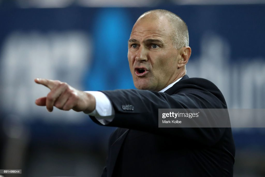 Eels coach Brad Arthur shouts as he watches on from the bench during the round 13 NRL match between the Parramatta Eels and the New Zealand Warriors at ANZ Stadium on June 2, 2017 in Sydney, Australia.