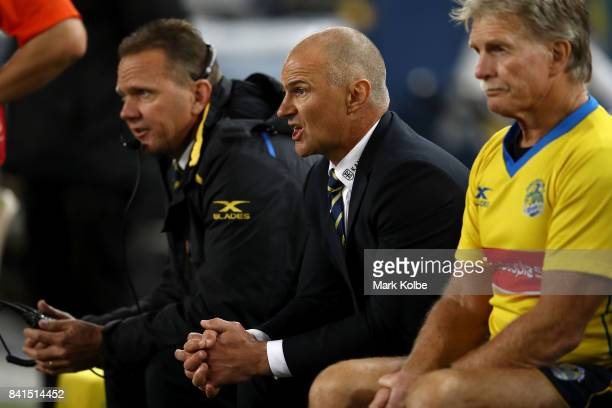 Eels coach Brad Arthur shouts instructions as he watches on from the bench during the round 26 NRL match between the Parramatta Eels and the South...