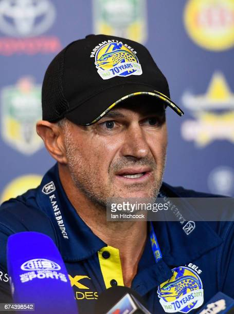 Eels coach Brad Arthur speaks at the post match media conference at the end of during the round nine NRL match between the North Queensland Cowboys...