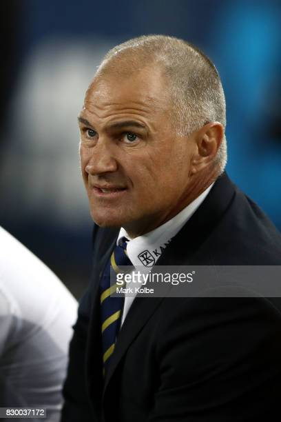 Eels coach Brad Arthur watches on during the round 23 NRL match between the Parramatta Eels and the Newcastle Knights at ANZ Stadium on August 11...