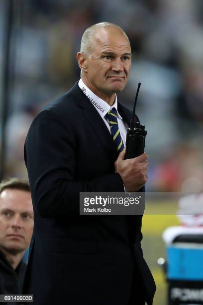 Eels coach Brad Arthur watches on from the bench during the round 13 NRL match between the Parramatta Eels and the New Zealand Warriors at ANZ...