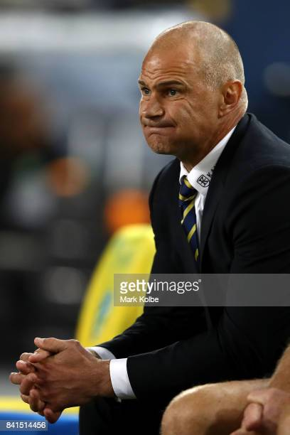 Eels coach Brad Arthur watches on from the bench during the round 26 NRL match between the Parramatta Eels and the South Sydney Rabbitohs at ANZ...