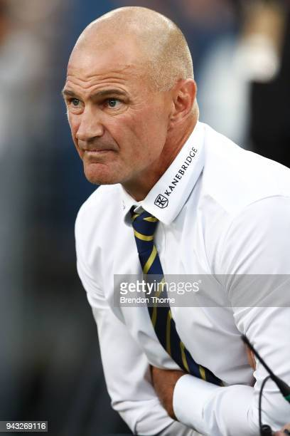 Eels coach Brad Arthurlooks on during the round five NRL match between the Parramatta Eels and the Penrith Panthers at ANZ Stadium on April 8 2018 in...