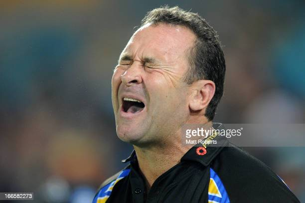 Eels coach Ricky Stuart reacts during the round six NRL match between the Gold Coast Titans and the Parramatta Eels at Skilled Park on April 14 2013...