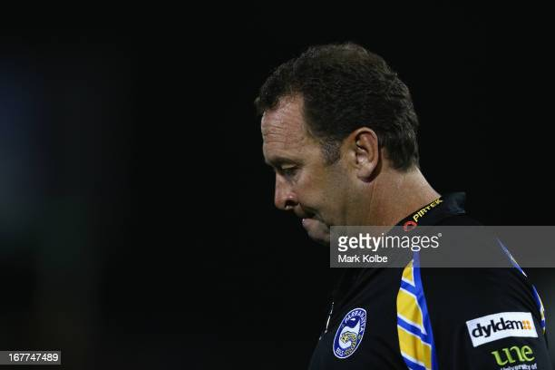 Eels coach Ricky Stuart walks onto the field during warm up before the round seven NRL match between the Penrith Panthers and the Parramatta Eels at...