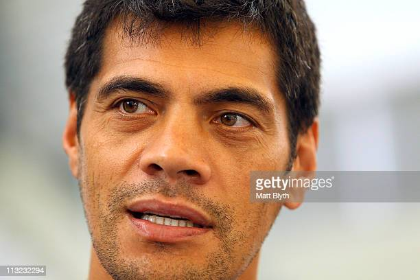 Eels coach Stephen Kearney talks to the media during a Parramatta Eels NRL media session at Parramatta Stadium on April 28 2011 in Sydney Australia