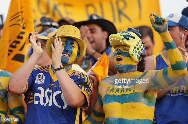 Eels fans celebrate during the fourth NRL qualifying final match between the St George Illawarra Dragons and the Parramatta Eels at WIN Jubilee...