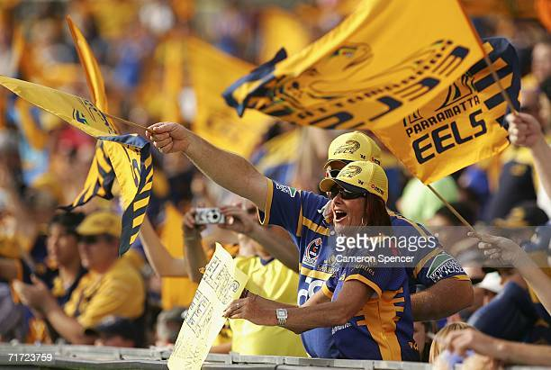 Eels fans cheer on their team during the round 25 NRL match between the Parramatta Eels and the Brisbane Broncos at Parramatta Stadium August 27 2006...