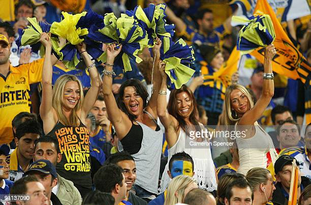 Eels fans enjoy the atmosphere during the first NRL Preliminary Final match between the Bulldogs and the Parramatta Eels at ANZ Stadium on September...