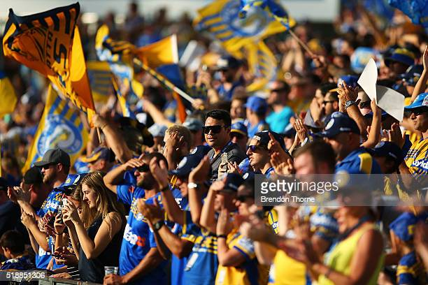 Eels fans show their colour during the round five NRL match between the Parramatta Eels and the Penrith Panthers at Pirtek Stadium on April 3 2016 in...