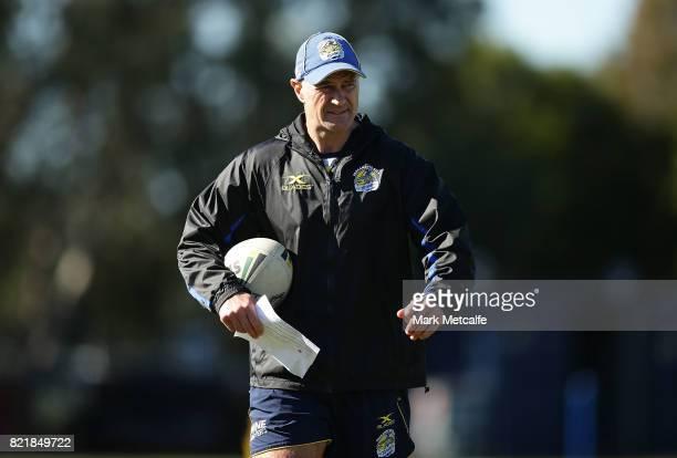 Eels head coach Brad Arthur looks on during a Parramatta Eels NRL training session at on July 25 2017 in Sydney Australia