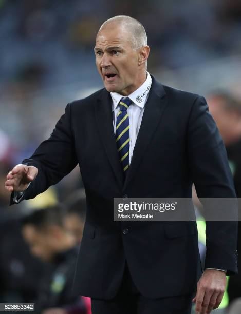 Eels head coach Brad Arthur looks on during the round 21 NRL match between the Parramatta Eels and the Brisbane Broncos at ANZ Stadium on July 28...