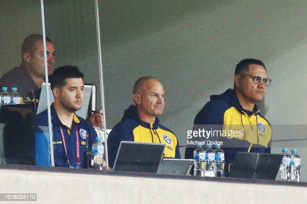 Eels head coach Brad Arthur looks on during the round 23 NRL match between the Melbourne Storm and the Parramatta Eels at AAMI Park on August 17 2018...