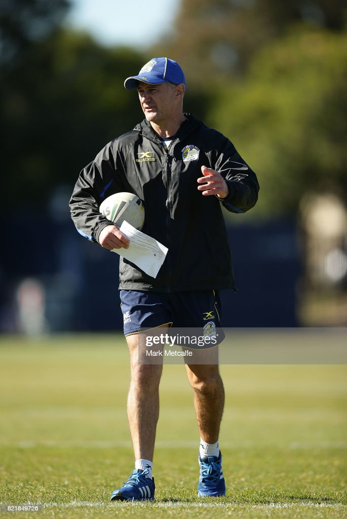 Eels head coach Brad Arthur talks to players during a Parramatta Eels NRL training session at on July 25, 2017 in Sydney, Australia.